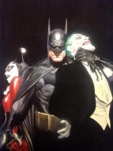 Dibujo de Batman, Joker y Harley Quinn por Alex Ross
